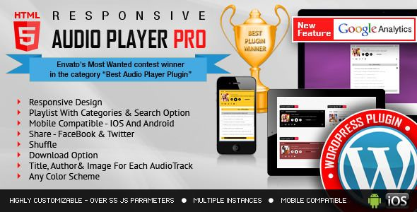 Responsive HTML5 Audio Player PRO v2.4.4 - WordPress Plugin