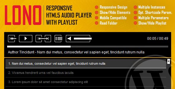 Lono v1.0 - Responsive HTML5 Audio Player Plugin