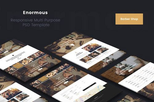 Enormous Barbers And Hair Salons PSD Template