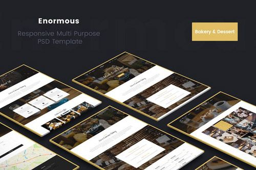 Enormous Bakery, Cakery And Food PSD Template