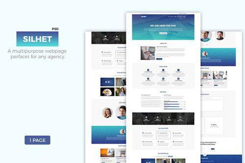 CreativeMarket - Silhet - Multipurpose One Page PSD