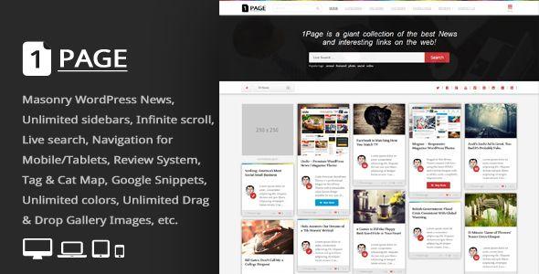 1Page v3.3 - Masonry WordPress News / Interesting links