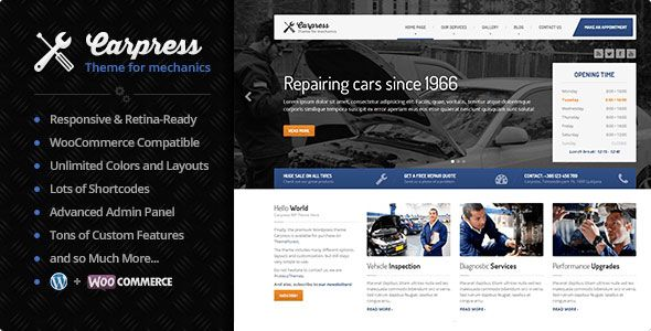 Carpress v1.11.7 - WordPress Theme For Mechanic Workshops