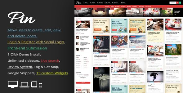 Pin v4.6.1 - Pinterest Style / Personal Masonry Blog