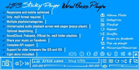 MP3 Sticky Player v5.5 - WordPress Plugin