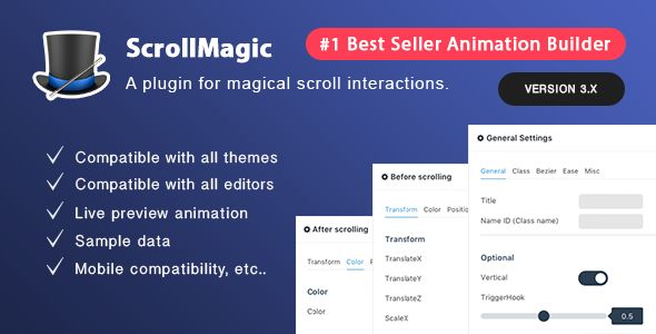 Scroll Magic v3.3.2 - Scrolling Animation Builder Plugin